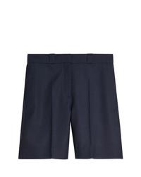dunkelblaue geflochtene Wollbermuda-shorts von Burberry