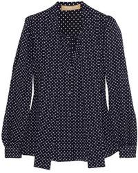 dunkelblaue gepunktete Bluse mit Knöpfen von Michael Kors