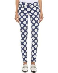 dunkelblaue gepunktete enge Jeans von Rebecca Minkoff