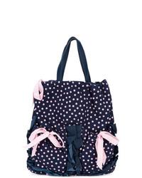 dunkelblaue gepunktete Shopper Tasche aus Segeltuch von RED Valentino