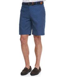 dunkelblaue gepunktete Shorts