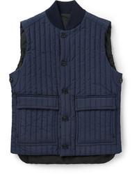 dunkelblaue gesteppte ärmellose Jacke von Canali