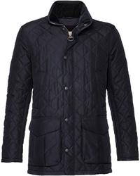 dunkelblaue gesteppte Jacke mit einer Kentkragen und Knöpfen von Barbour