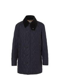 dunkelblaue gesteppte Jacke mit einer Kentkragen und Knöpfen von Burberry