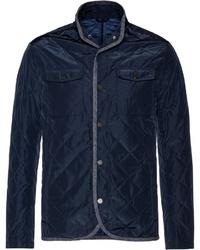 dunkelblaue gesteppte Jacke mit einer Kentkragen und Knöpfen von Highmoor