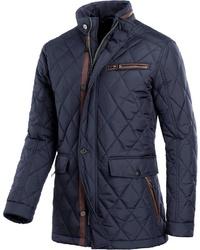 dunkelblaue gesteppte Jacke mit einer Kentkragen und Knöpfen von MARCO DONATI