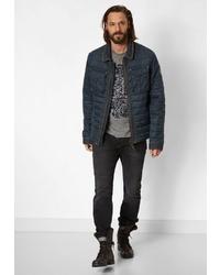 dunkelblaue gesteppte Jacke mit einer Kentkragen und Knöpfen von NAGANO
