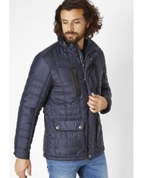 dunkelblaue gesteppte Jacke mit einer Kentkragen und Knöpfen von REDPOINT