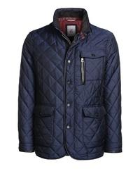 dunkelblaue gesteppte Jacke mit einer Kentkragen und Knöpfen von Thomas Goodwin