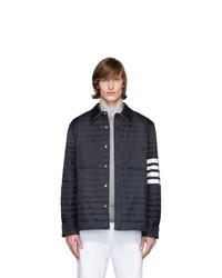 dunkelblaue gesteppte Shirtjacke aus Nylon von Thom Browne