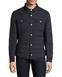 dunkelblaue gesteppte Shirtjacke