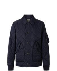 dunkelblaue gesteppte Shirtjacke von Burberry