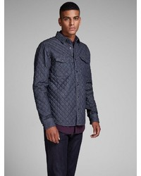 dunkelblaue gesteppte Shirtjacke von Jack & Jones