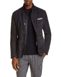 dunkelblaue Harrington-Jacke aus Wildleder