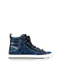 dunkelblaue hohe Sneakers aus Jeans von Diesel