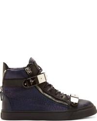 dunkelblaue hohe Sneakers aus Leder