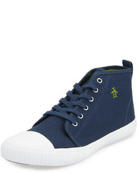 dunkelblaue hohe Sneakers aus Segeltuch