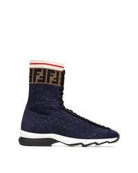 dunkelblaue hohe Sneakers aus Segeltuch von Fendi