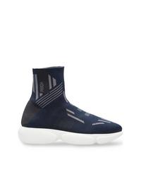 dunkelblaue hohe Sneakers aus Segeltuch von Prada