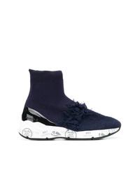 dunkelblaue hohe Sneakers aus Segeltuch von Premiata