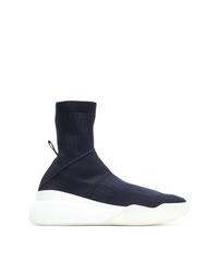 dunkelblaue hohe Sneakers aus Segeltuch von Stella McCartney