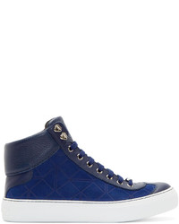 dunkelblaue hohe Sneakers aus Wildleder