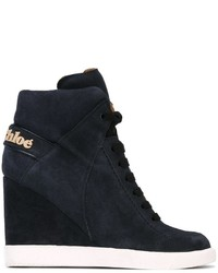 dunkelblaue hohe Sneakers aus Wildleder von See by Chloe
