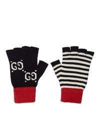 dunkelblaue horizontal gestreifte Handschuhe von Gucci