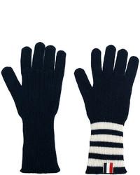 dunkelblaue horizontal gestreifte Handschuhe von Thom Browne