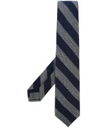 dunkelblaue horizontal gestreifte Krawatte von Barba