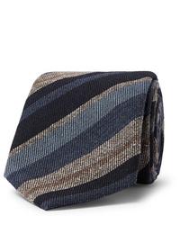 dunkelblaue horizontal gestreifte Krawatte von Brioni