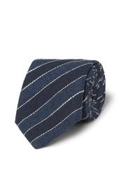 dunkelblaue horizontal gestreifte Krawatte von Brunello Cucinelli