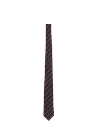 dunkelblaue horizontal gestreifte Krawatte von Gucci