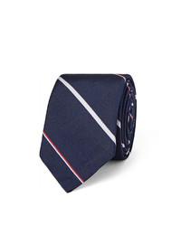 dunkelblaue horizontal gestreifte Krawatte von Thom Browne