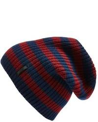 dunkelblaue horizontal gestreifte Mütze