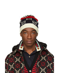 dunkelblaue horizontal gestreifte Mütze von Gucci