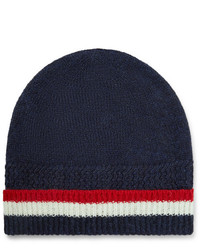 dunkelblaue horizontal gestreifte Mütze von Thom Browne