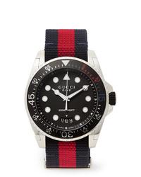 dunkelblaue horizontal gestreifte Segeltuchuhr von Gucci