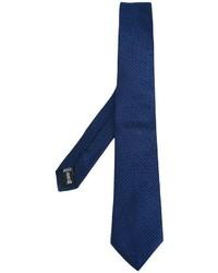 dunkelblaue horizontal gestreifte Seidekrawatte von Armani Collezioni
