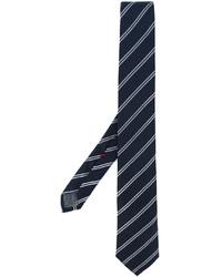 dunkelblaue horizontal gestreifte Seidekrawatte von Brunello Cucinelli