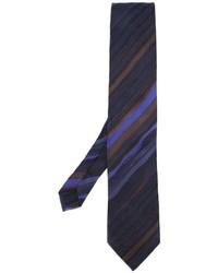 dunkelblaue horizontal gestreifte Seidekrawatte von Etro