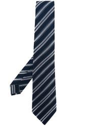 dunkelblaue horizontal gestreifte Seidekrawatte von Kiton