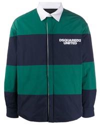 dunkelblaue horizontal gestreifte Shirtjacke von DSQUARED2