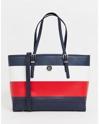 dunkelblaue horizontal gestreifte Shopper Tasche aus Leder