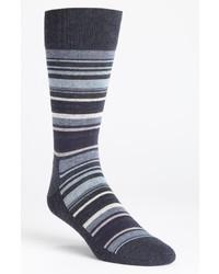 dunkelblaue horizontal gestreifte Socke
