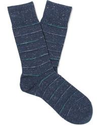 dunkelblaue horizontal gestreifte Socken von Falke