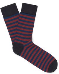dunkelblaue horizontal gestreifte Socken von John Smedley