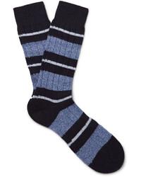 dunkelblaue horizontal gestreifte Socken von Pantherella