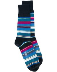 dunkelblaue horizontal gestreifte Socken von Paul Smith