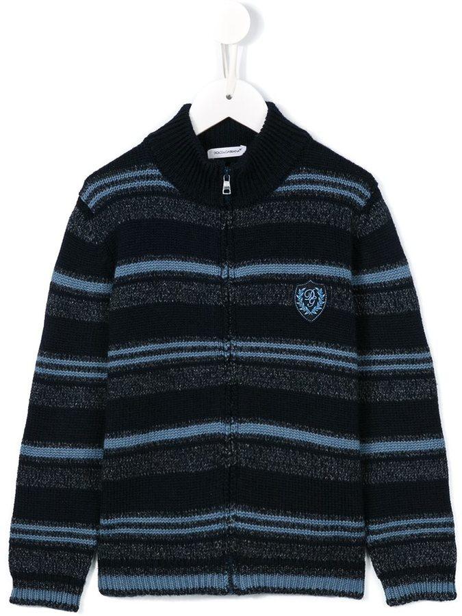 dunkelblaue horizontal gestreifte Strickjacke von Dolce & Gabbana